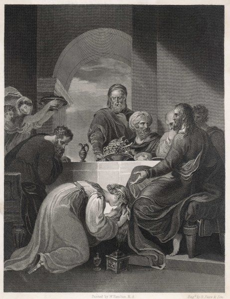 While he is dining with Simon the Pharisee, a sinful woman - generally identified as Mary Magdalen - washes his feet with her tears and anoints them with costly ointment