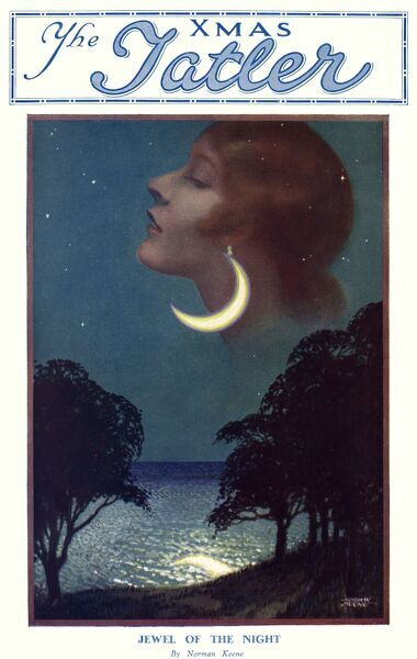 Front cover showing a ladies earring as the moon crescent. Date: 1930