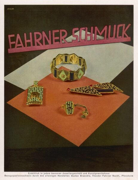 Advertisement for an exclusive range of jewellery made by Gustav Braendle and Theodor Fahrner Nachf