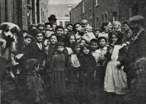 A crowd of Jewish children in the East End of London