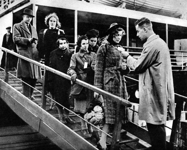 Photograph of some Jewish refugee children arriving from Germany, landing at Harwich, 2nd December 1938