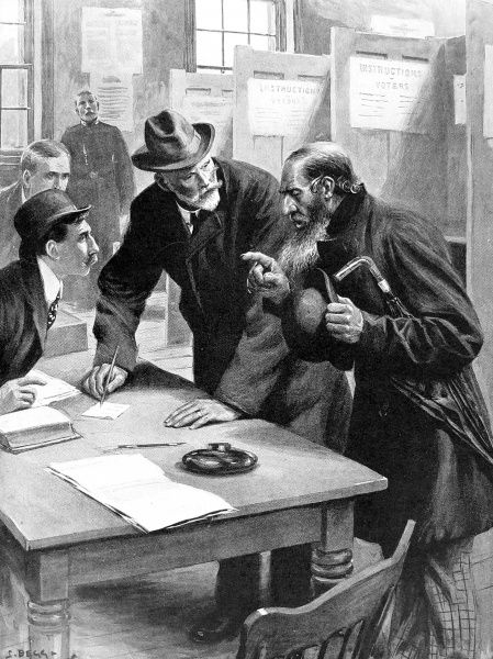 Illustration showing an elderly orthodox Jew, at a polling station, London, 1910. This gentleman is shown indicating, to the presiding officer, how he will vote as he is not allowed to write on the Sabbath