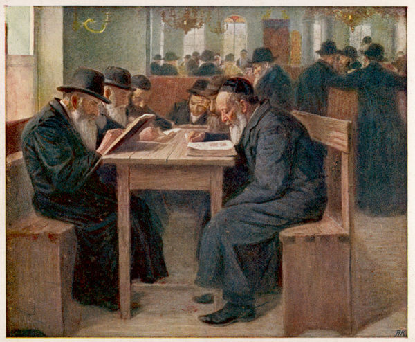 Jews studying the Talmud, a compilation of ancient Jewish law and tradition : probably in the Netherlands