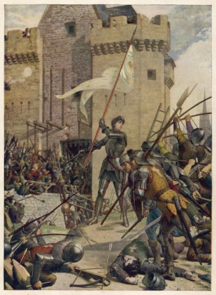 Waving a white banner, Joan of Arc encourages her soldiers to attack the fortress at Orleans