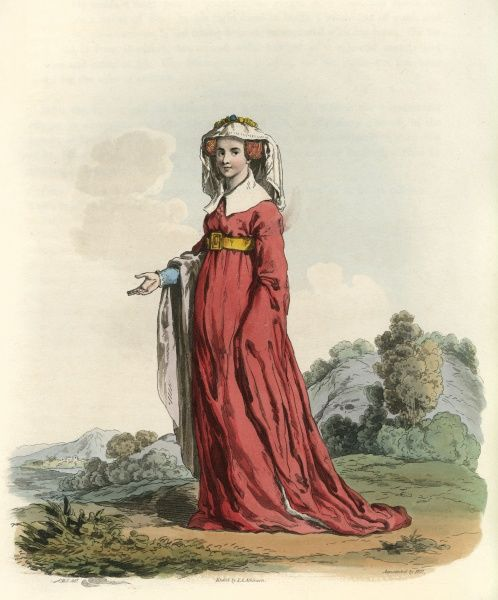 JOAN PICKERING, LADY GASCOIGNE second wife of Sir William Gascoigne, Chief Justice of the King's Bench at the time of Henry V. A fine example of contemporary women's costume. Date: flourished 1429