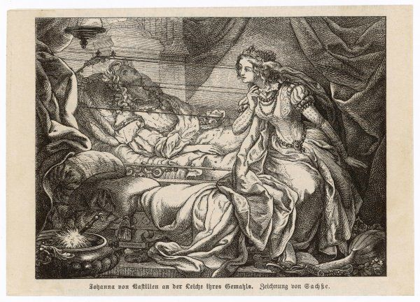 Joanna of Castile and Leon, daughter of Ferdinand and Isabella, has her insanity aggravated by the death of her husband, Philip I, archduke of Austria, king of Castile 1506
