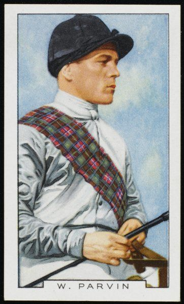 Billy Parvin, jockey, in the colours of Lady Lindsay