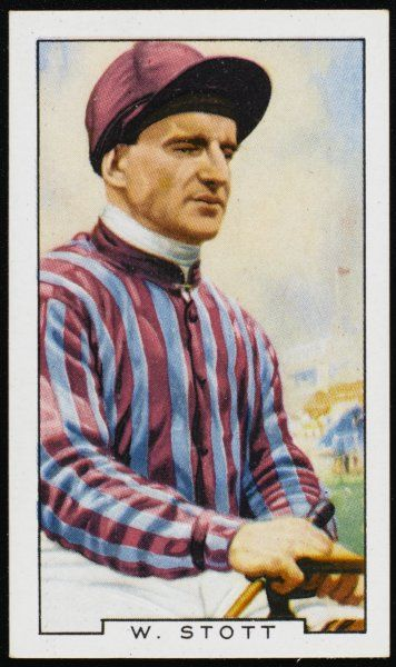 Billy Stott, jockey, in the colours of Mr BD Davis