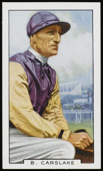 Brownie Carslake, jockey, in the colours of Lord Durham