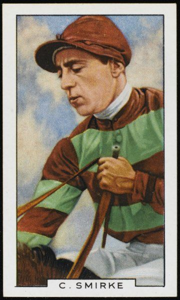 Charlie Smirke, jockey, in the colours of the Aga Khan