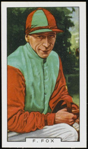 Fred Fox, jockey, in the colours of Captain AS Willis