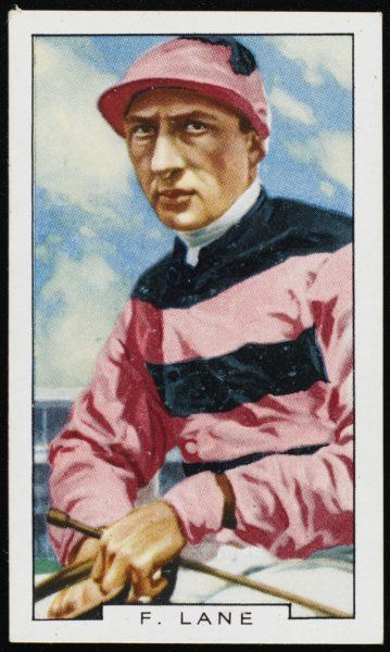 Fred Lane, jockey, in the colours of Mr T Walls