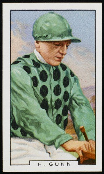 H Gunn, jockey, in the colours of Lord Milton Date: 20th century