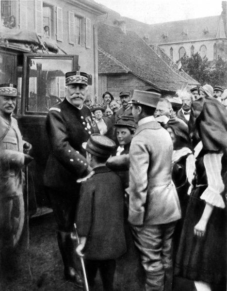 General Joffre welcomed in Alsace, shortly after the territory was regained by the French in 1915