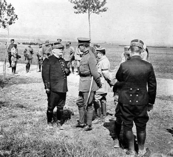 General Joffre in conversation with King Albert of Belgium (1875-1934), Commander-in-Chief of the Belgian army. Albert was credited with leading a gallant Belgian resistance against the German army as they swept through Belgium in August 1914
