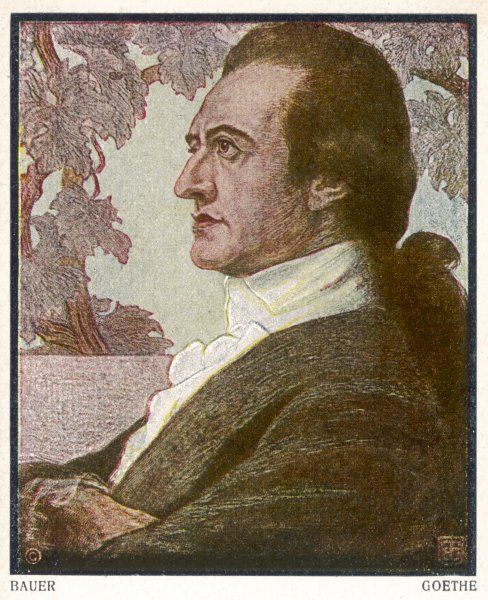 Johann Wolfgang von Goethe, German writer and polymath. His writings include poetry, drama, literature, theology, philosophy and science
