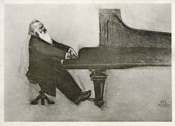 Johannes Brahms, German composer and musician. Seen here in profile, playing a grand piano
