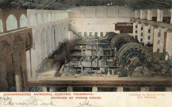 The Power House (Generators) for the Johannesburg Municipal Electric Tramways system Date: 1907