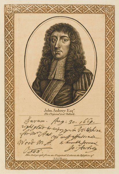 JOHN AUBREY writer and antiquary with his autograph
