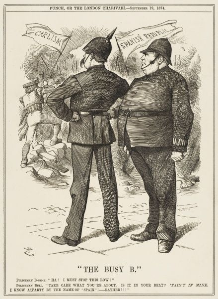 Bismarck itches to interfere in Spanish affairs, but John Bull discourages him, advocating a non- interventionist policy by the great powers