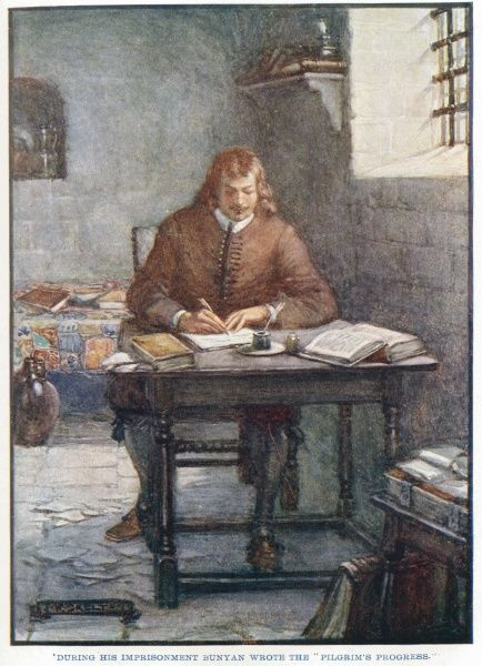 "'During his imprisonment Bunyan wrote the ""Pilgrim's Progress"".' John Bunyan, English Christian writer and preacher, during one of his spells of imprisonment for unlicensed preaching writing ""Pilgrim's Progress&quot"