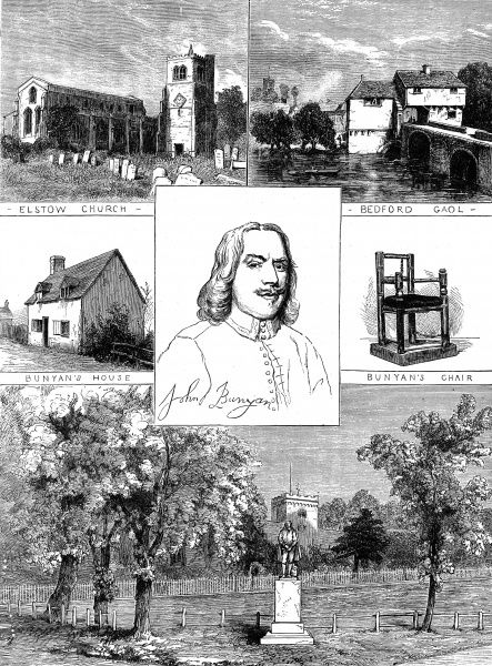 Engraving showing a portrait of John Bunyan (1628-1688), the English writer and preacher, (centre) and clockwise, from top right: Bedford Gaol; Bunyan's Chair; the John Bunyan statue erected in 1874; Bunyan's House and Elstow Church