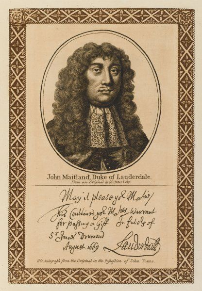 JOHN MAITLAND, duke of LAUDERDALE BUCKINGHAM - Scottish statesman who 'enslaved his country by every mode of oppression; with his autograph