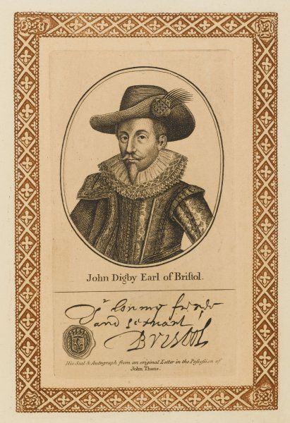 JOHN DIGBY, first earl of BRISTOL - statesman and diplomat who died in exile. with his autograph