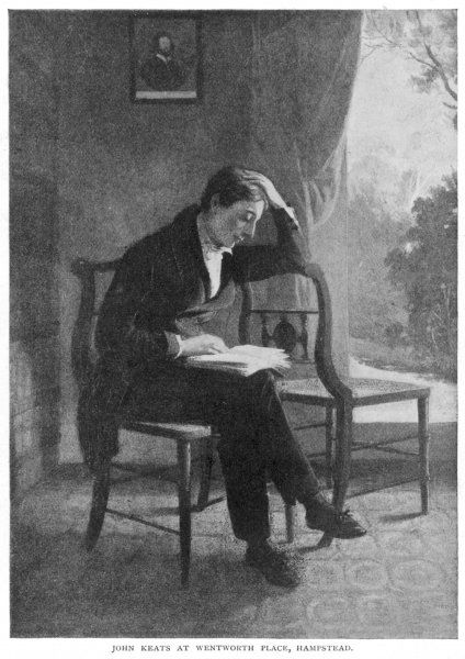 JOHN KEATS English poet reading a book at Wentworth Place, Hampstead