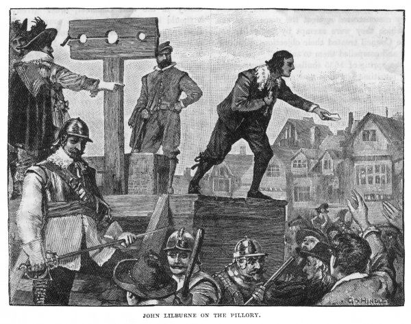 JOHN LILBURNE Political agitator and English leader of the Levellers; here, he appeals to a crowd as he stands at a pillory