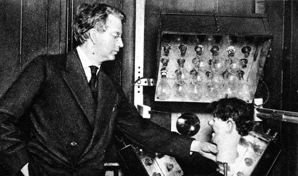John Logie Baird's experiment with transatlantic television. He is pictured here with a ventriloquist's dummy head whose image was transmitted from London to New York by wireless