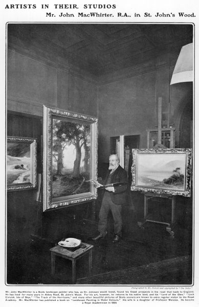 John MacWhirter (1839 - 1911), Scottish artist, painter of landscapes, pictured at work in his studio in St. John's Wood