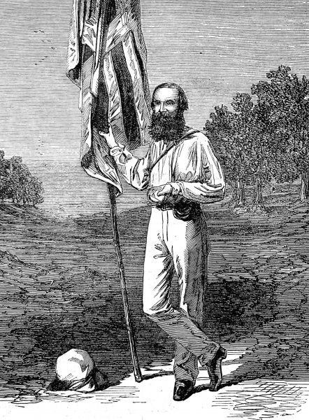 Engraving of John McDouall Stuart, the Australian explorer, pictured in 1863. Born in Fife, Scotland, Stuart made six expeditions to the Australian interior between 1855 and 1862, discovering Lake Eyre on the way