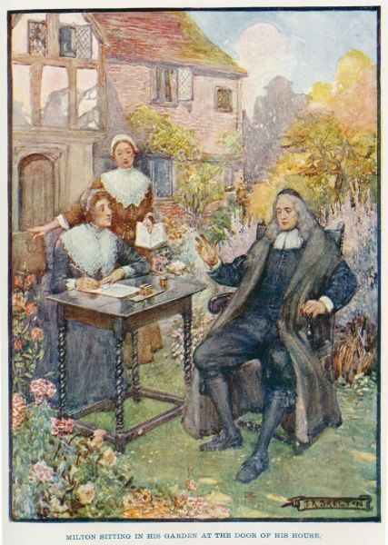 John Milton (1608 - 1674), English poet, sitting in his garden at the door of his house, while he dictates poetry