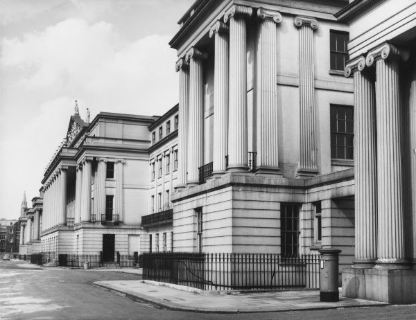 Cumberland Terrace, Regent's Park, London, with some of the fine houses built by the architect John Nash in 1827