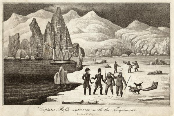 Decked out in full Naval dress, Ross & Parry go ashore to meet a hitherto unknown Eskimo people in Greenland.The artist, an Eskimo interpreter, is also in the picture