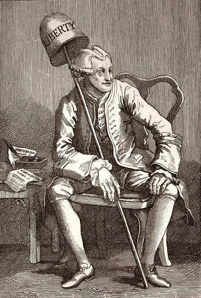 Engraving, after Hogarth, showing John Wilkes (1727-1797), the English politician and journalist