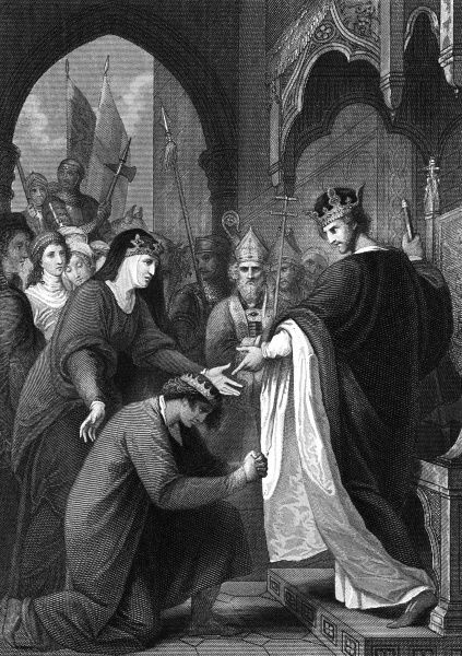 King Richard forgives his younger brother John, who had rebelled while Richard was away on the Third Crusade. John was named as heir to the throne and succeeded his brother in 1199 Date: 1194
