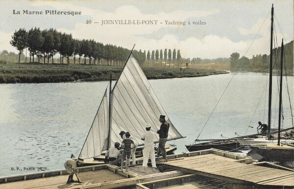 Joinville-de-Port, France - Yachting on the River Marne, a tributary of the River Seine in Paris. Paul Cezanne lived in worked in the area for a period of time