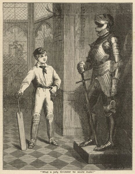 A school boy cricketer admires a suit of armour and imitates the poise and the position of the statue's sword, with his cricket bat