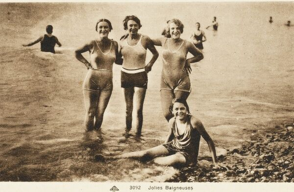 Jolly French swimmers - fresh from a dip