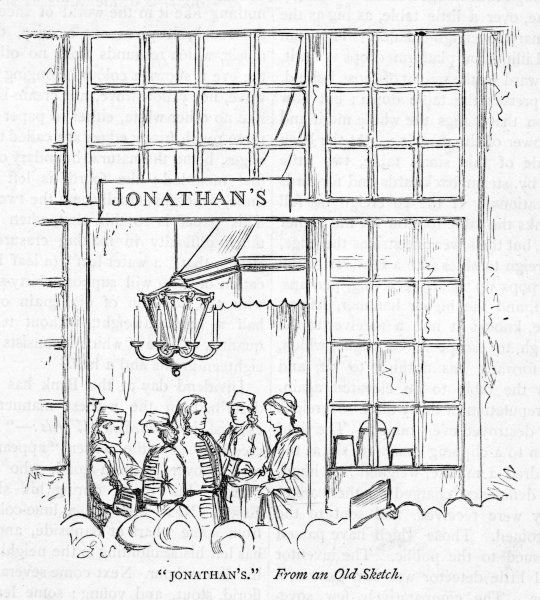 Jonathan's Coffee House, Change Alley, London, the informal venue for commercial transactions that became the London Stock Exchange