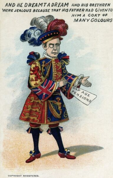 In a picture postcard, Radical politicial Joseph Chamberlain (1836-1914) is pictured wearing a coat of many colours. Each segment reflects the different stages in his political career: socialist, extreme radical, Gladstonian, Liberal Unionist