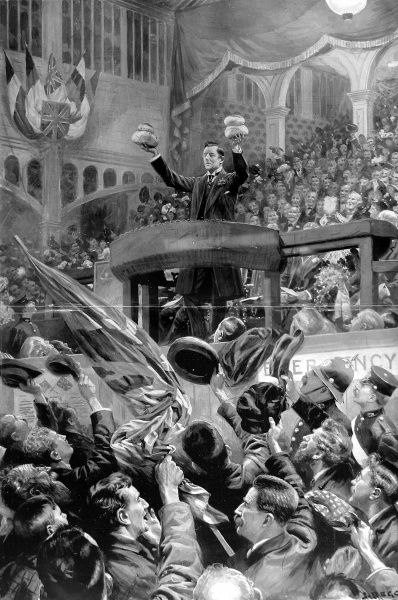 Illustration showing Joseph Chamberlain MP, delivering a speech on Protectionism and Free Trade, at Bingley Hall, Birmingham