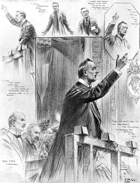 Illustrations of the Right Hon. Joseph Chamberlain MP, Radical English politician, delivering an address on Protectionism at the Olympia Hall, Newcastle