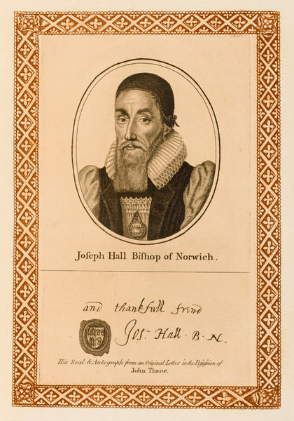 JOSEPH HALL churchman, bishop of Norwich with his autograph