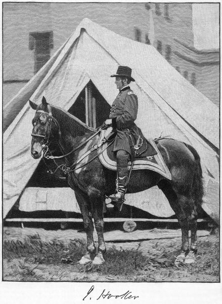 JOSEPH HOOKER American military commander, photographed on his horse during the war between the States. with his autograph