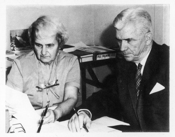 Joseph Banks Rhine and his wife Louisa, prominent American parapsychologists ; he is known for clinical experiments with ESP, she studied spontaneous cases