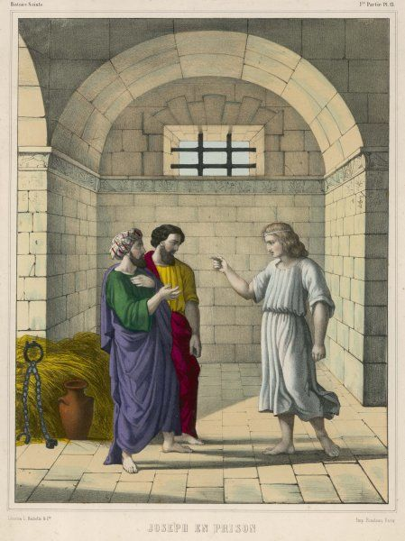 In prison due to Potiphar's wife's false accusation, he interprets the dreams of the chief cup-bearer and the chief baker - both will have their heads lifted in differing ways