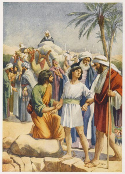 Joseph is sold by his brothers to some Egyptian merchants
